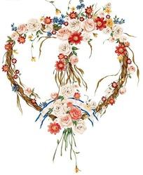 藤条鲜花制成的心型