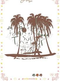 潮流树木剪影图案
