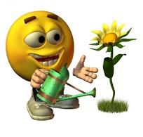 正在浇花的卡通人物