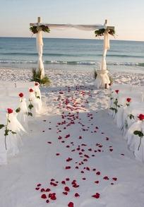 海边沙滩上的浪漫婚礼