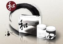中国风水墨茶叶包装效果模板PSD分层素材