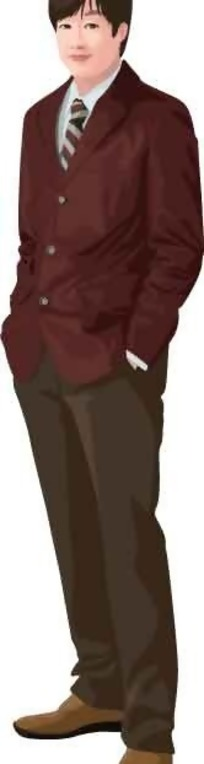 穿西装打领带的卡通男子