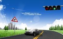 行驶在公路上的汽车PSD