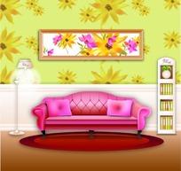 矢量家居客厅插画
