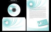 清新漩涡图案的信封信笺光碟画面设计