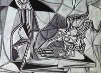 几何黑白图形抽象画jpg图片