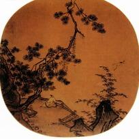 中国工笔风景-于栏杆旁观景的男子