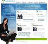 蓝色系简洁商务网站设计模版