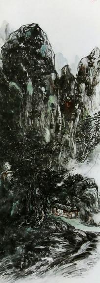 水墨画松树下的老虎jpg