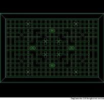 方格镂空中式窗CAD