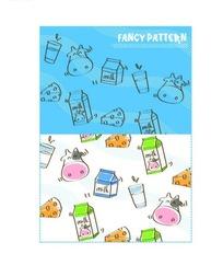 奶牛/牛奶/三明治/杯子构成的图案