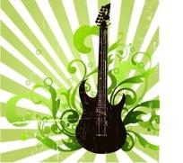 放射条纹背景吉他