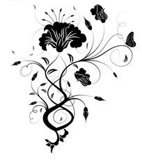 简单黑色花纹设计