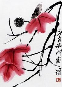 齐白石水墨红叶秋蝉图图片