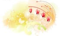 水彩背景上动感图案与红色风铃花