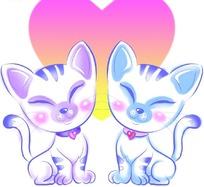 两只可爱小猫也心形图案