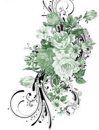 手绘粉绿色玫瑰花与花纹图案素材图片