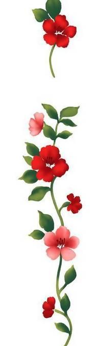 手绘红色五瓣花与粉色四瓣花