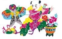 放风筝的孩子传统艺术中华剪纸