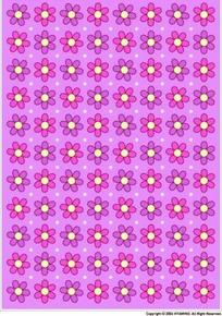 粉紫色背景上六瓣花四方连续图案