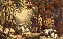 树下的男人与猎狗油画