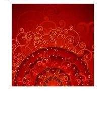 红色背景上的半圆形卷草图案
