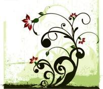 浅绿色涂鸦背景上的卷草图案花