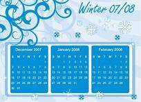 时尚的花纹日历