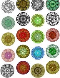 矢量宗教彩绘圆形适合纹样