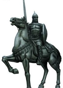 中世纪举剑骑士雕塑图像素材图片