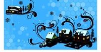 房子雪花树木雪人