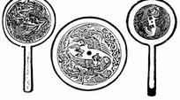 古代镜子上的凤凰雕刻图案