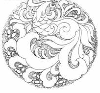 圆形凤凰雕刻图案