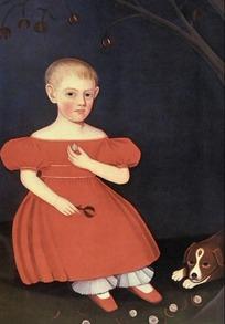 狗的前面坐着一个女衣少女油画