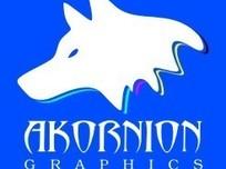蓝色方形白色狼头图案与英文字标志设计