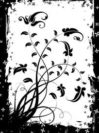 四瓣小花藤条花纹剪影