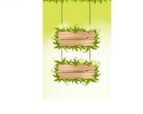 树叶木纹边框素材黄绿色背景