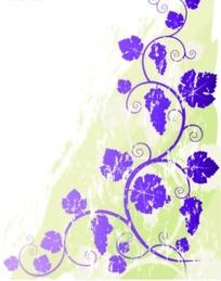 粉绿色涂鸦背景上蓝紫色蔓藤葡萄图案