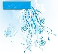 蓝色长方形框花草剪影雪花形状