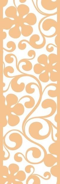 黄色欧式卷草六瓣花图案镂空花纹