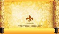 黄色中国风卷轴名片模板