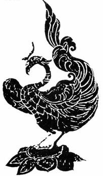 古典拓印莲盘上的凤凰图案雕刻图案