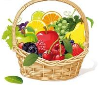 一篮美味水果矢量素材