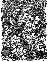 中国古典图案-繁复的凤凰和牡丹花纹
