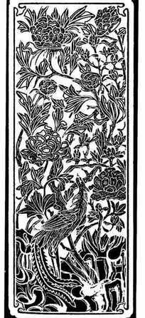 中国古典图案-精美凤凰和牡丹纹样