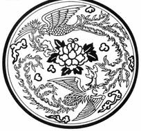 中国古典图案-两只展翅的凤凰和牡丹构成的圆形图案