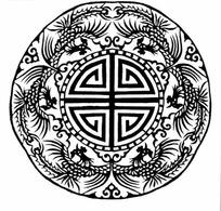 中国古典图案-六只凤凰围绕的寿字