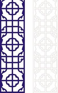 宝蓝色中式二方连续图案窗格镂空花纹