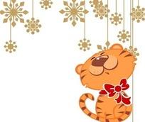 戴着蝴蝶结的可爱小老虎