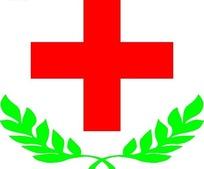 红十字与绿色叶子图形标志设计